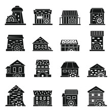 Old Water Mill Icons Set. Simp...