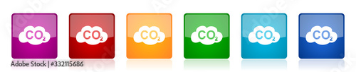 Fényképezés Carbon dioxide icon set, colorful square glossy vector illustrations in 6 option