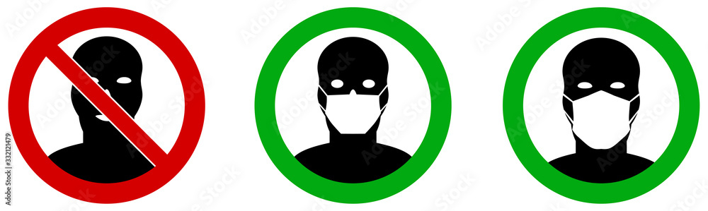 Fototapeta No entry without / please wear face mouth mask icon. Sign can be used during coronavirus covid19 outbreak prevention