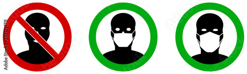 Fototapeta No entry without / please wear face mouth mask icon. Sign can be used during coronavirus covid19 outbreak prevention obraz