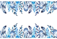 Seamless Border, Blue Feathers...