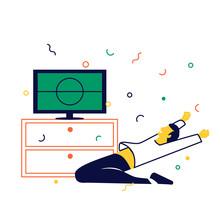 Hincha Viendo Fútbol En Televisión Y Celebrando La Victoria En Casa. Hombre De Rodillas Animando A Su Equipo. Concepto De Deporte Y Animación.
