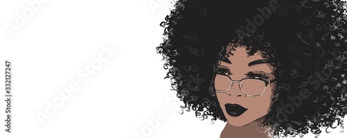 Black woman. hair care. African american girl with afro hair, illustration