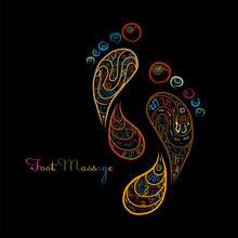 Foot Massage, Sketch Of Footprint Colorful For Your Design