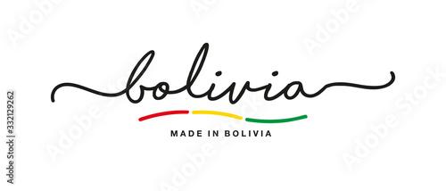 Photo Made in Bolivia handwritten calligraphic lettering logo sticker flag ribbon bann