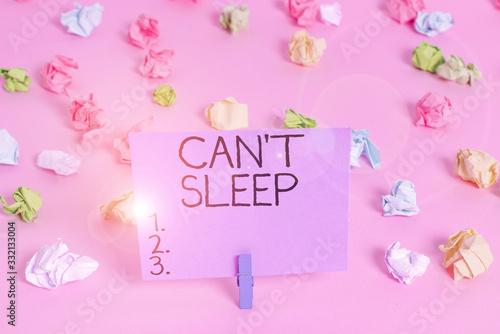 Handwriting text writing Cant Sleep Canvas Print