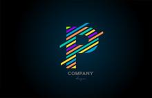 Colored Letter Logo P Alphabet...