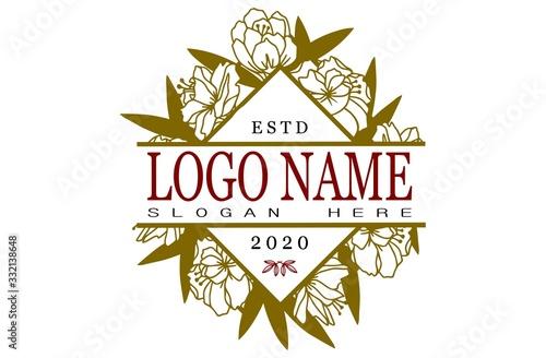 flower and your text split monogram for vector logos Tableau sur Toile