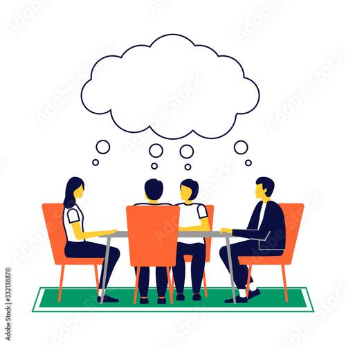 Pensamiento en equipo y brainstorming. Wallpaper Mural