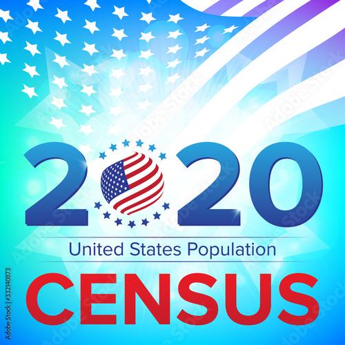 Valokuvatapetti United States Population Census 2020 banner