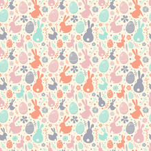 Easter Background With Decorative Eggs, Bunnies And Flowers. Seamless Texture. Vector