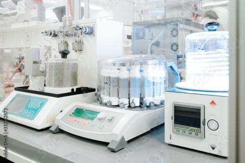 Obraz na płótnie Medical equipment in modern laboratory prepared for coronavirus diagnosis