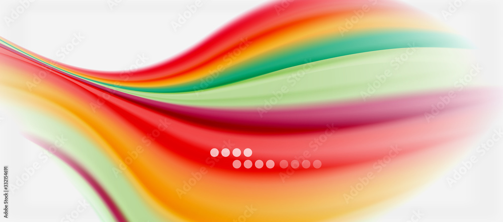 Fototapeta Wave lines abstract background, smooth silk design with rainbow style colors. Liquid fluid color waves. Vector Illustration