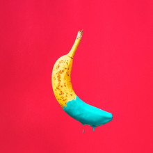 Banana Dipped In Blue Paint