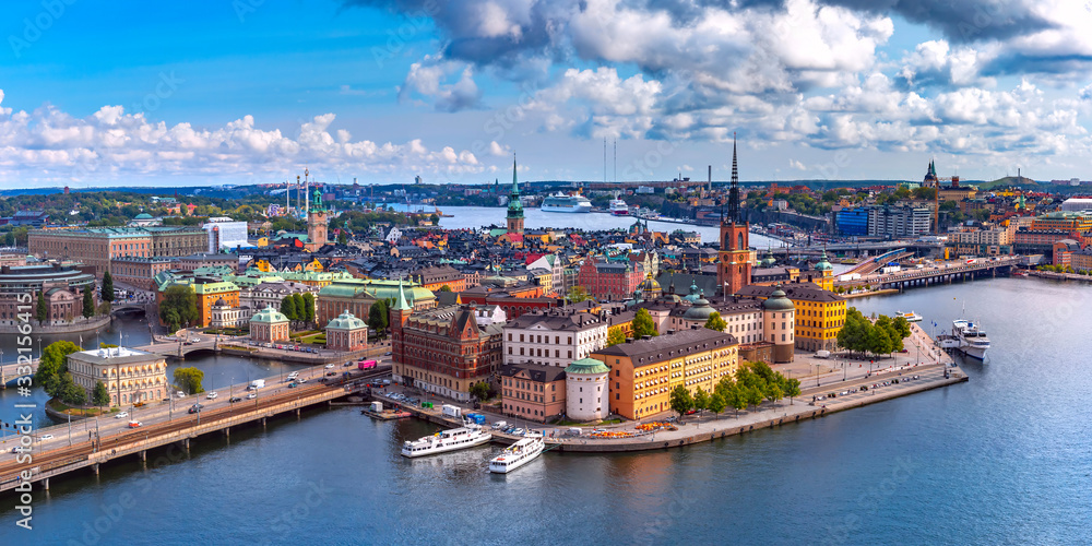 Fototapeta Scenic summer aerial panoramic view of Gamla Stan in the Old Town in Stockholm, capital of Sweden