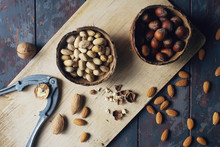 Mix Of Nuts In Coconut Bowls O...