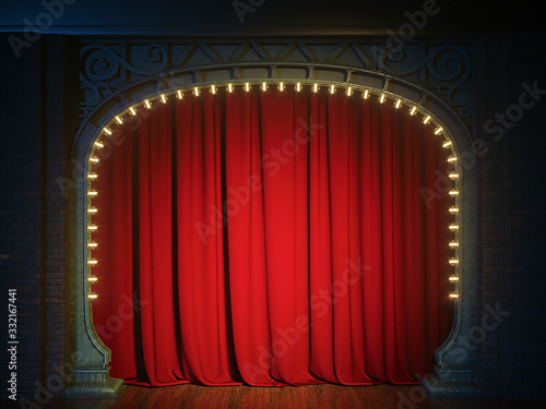 Photographie Dark empty cabaret or comedy club stage with red curtain and art nuovo arch