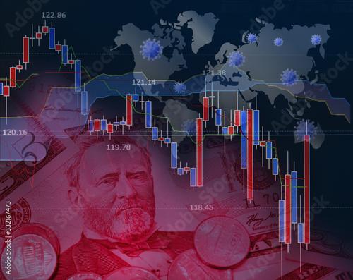 世界的な感染症の流行と経済への影響 Wallpaper Mural