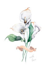Watercolor Calla Bouquet. Hand...
