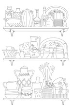 Rustic Shelves With Ornate Tableware, Cups, Pots, Jugs For Your