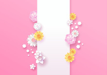 Spring Paper Cut 3d Flower Vertical Template