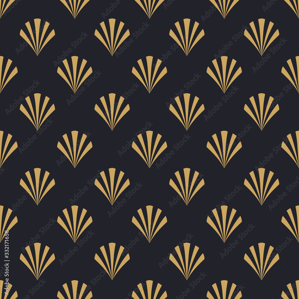 Art deco retro gold abstract seamless pattern