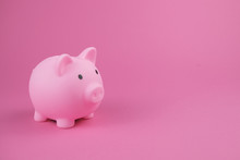 Pink Piggy Bank On The Pink Background.Concept Of Saving Money, Investment, Banking Or Business Services.