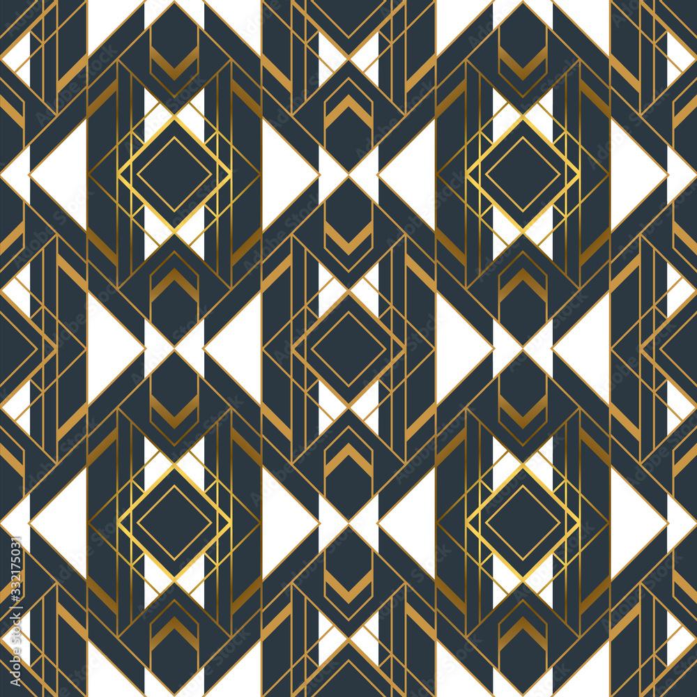 Gold black abstract artdeco frame seamless pattern