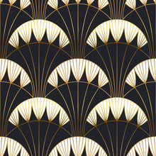Gold Black Art Deco Architecture Seamless Pattern