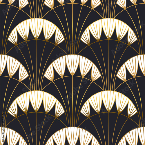 Tapeta czarna  gold-black-art-deco-architecture-seamless-pattern