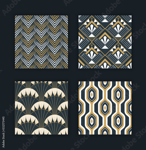 Vintage abstract art deco gold pattern set