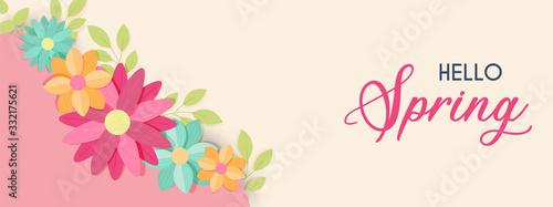 Fototapeta Hello spring cute flower banner for nature season obraz