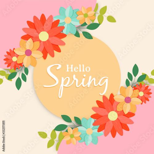 Fototapeta Hello spring greeting card label for flower season obraz