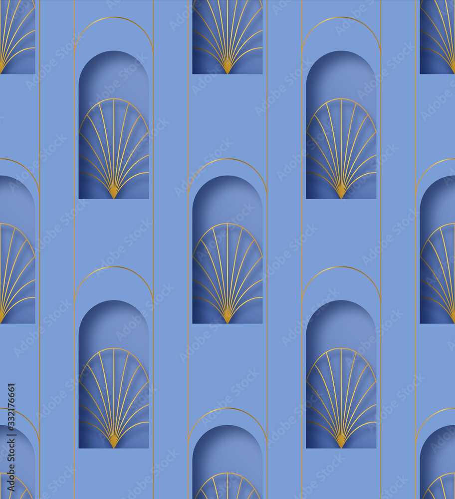 Paper cut art deco retro gold seamless pattern