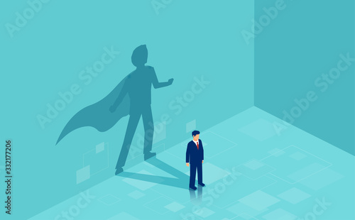 Fotomural Vector of a confident business man with a super hero shadow