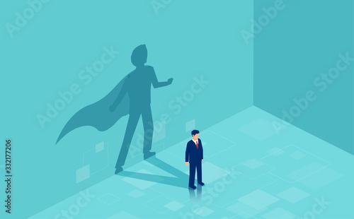 Fotografía Vector of a confident business man with a super hero shadow