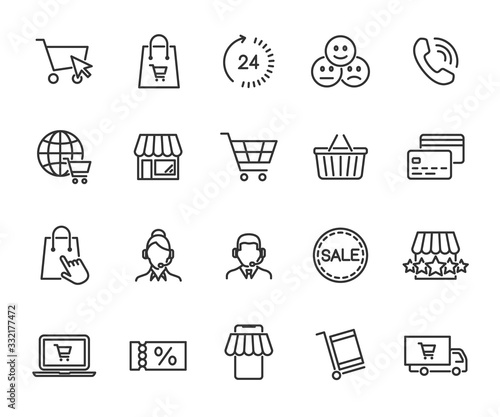 Leinwand Poster Vector set of online shopping line icons