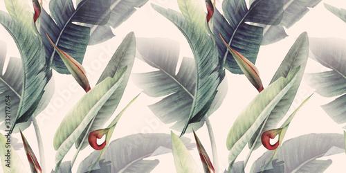 Obraz Kwiatowy wzór z tropikalnych kwiatów i liści na jasnym tle - fototapety do salonu