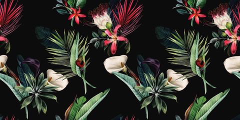 Seamless floral pattern with tropical flowers and leaves on dark background. ...