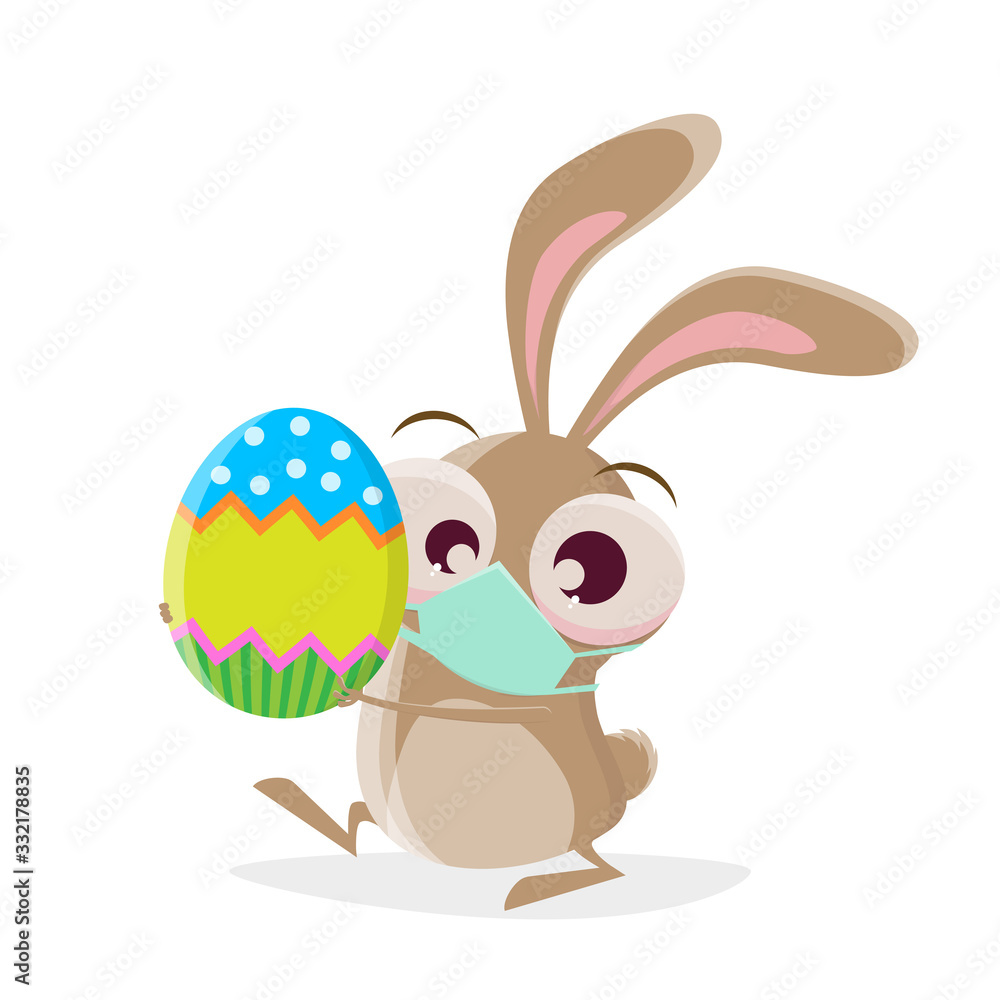 Fototapeta funny cartoon rabbit with breathing mask is bringing an easter egg