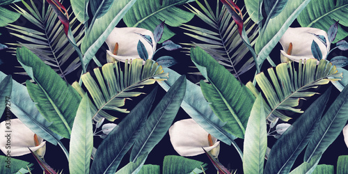 Seamless floral pattern with tropical leaves on dark background. Template des...