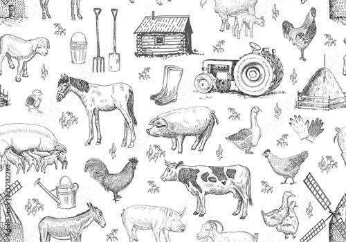 Fotografia Vector seamless pattern with farm elements, animals.