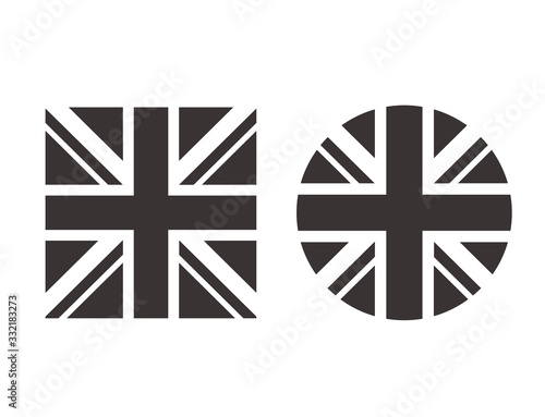 United Kingdom black white flag isolated set. Vector flat graphic design isolated illustration