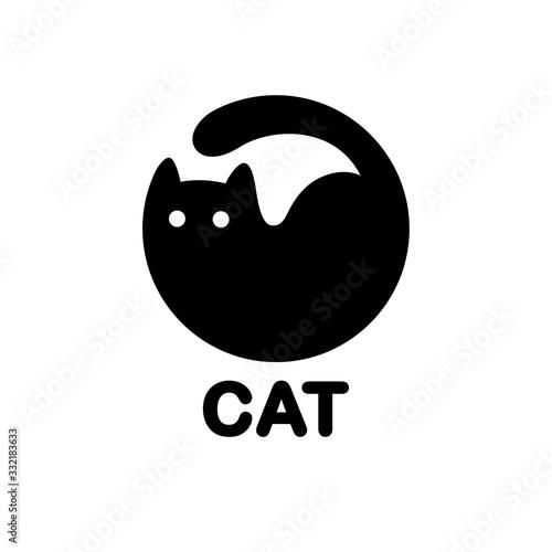 Fototapeta Black cat circle logo