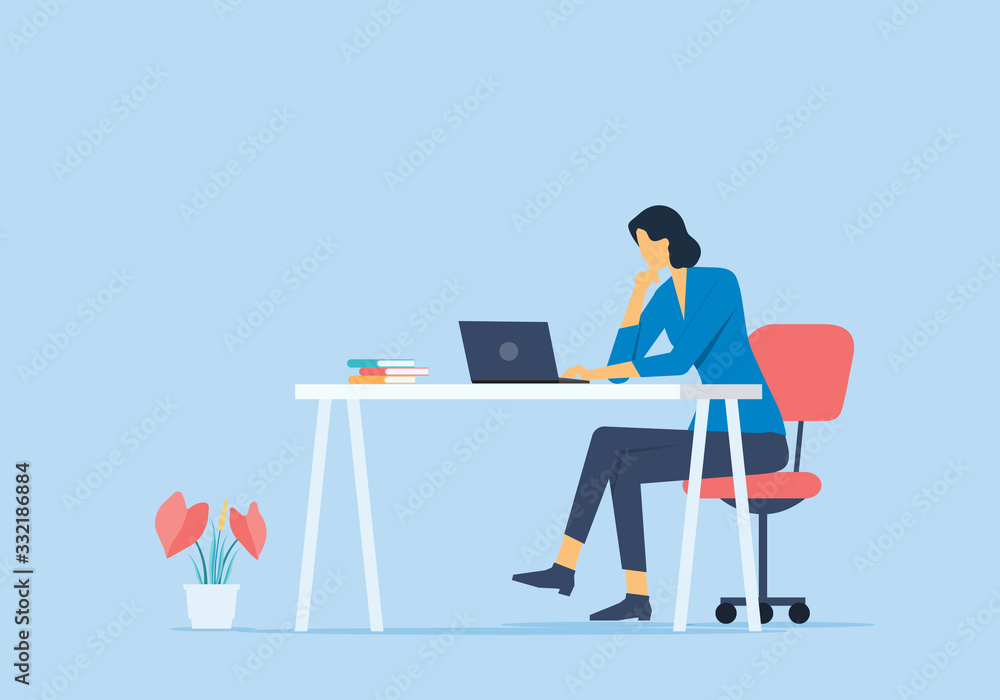 Fototapeta flat vector work from home concept and business smart working online any workplace concept