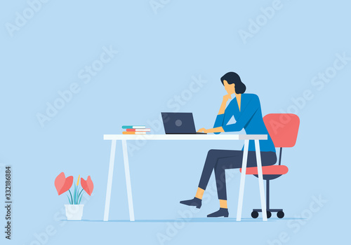 flat vector work from home concept and business smart working online any workpla Fototapete