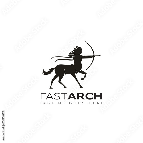 fastarch logo, from fast and archer woman centaur vector Canvas Print