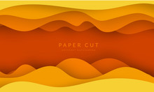 Yellow Paper Cut Banner With 3D Slime Abstract Background And Yellow Waves Layers. Abstract Layout Design For Brochure And Flyer. Paper Art Vector Illustration.