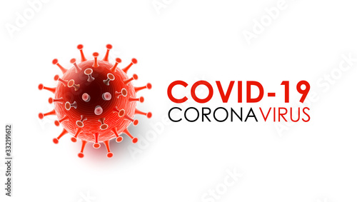 Obraz Coronavirus disease COVID-19 infection medical with typography and copy space. New official name for Coronavirus disease named COVID-19, pandemic risk background vector illustration - fototapety do salonu