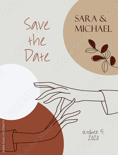 Fototapety, obrazy: Wedding invitation template. Continuous line, lineart. Beautiful female hands, abstract background